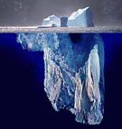 Composite photograph showing an iceberg both above and below the waterline.