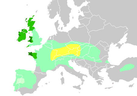 "Diachronic distribution of Celtic peoples, showing expansion into the southern Netherlands:    core Hallstatt territory, by the 6th century BC   maximal Celtic expansion, by 275 BC   Lusitanian area of Iberia where Celtic presence is uncertain   the ""six Celtic nations"" which retained significant numbers of Celtic speakers into the Early Modern period   areas where Celtic languages remain widely spoken today"