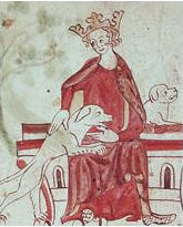 A drawing of King John wearing a crown and a red robe. The king is sat down and stroking two hunting dogs.