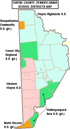 "Map of Wayne County's school districts, colored in dark green, light green, orange, and red, and labeled by district. Text across the top reads ""WAYNE COUNTY, PENNSYLVANIA SCHOOL DISTRICTS MAP."""