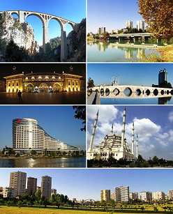 1st left: Varda Viaduct, 1st right:  Dilberler Sekisi Park in Seyhan, 2nd left: Adana station, 2nd right:Taşköprü, 3rd left: Sheraton Adana, 3rd right: Sabancı Central Mosque, 4th bottom: White Houses neighborhood.