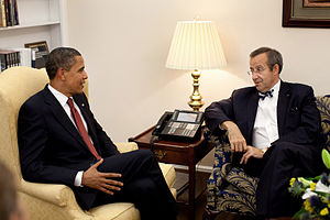 Barack Obama left sitting with Toomas Hendrik Ilves right in the White House Monday, June 15, 2009