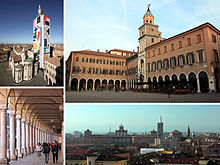 Top left:Modena Cathedral and Ghirladinn Tower, Top right:Modena City Hall, Bottom left:Stoa of Portici del Collegio in Emilia Street, Bottom right:View of Modena Ducal Palace and San Domenico Cathedral from Dante Square