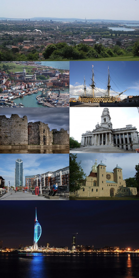 Clockwise from top: Portsmouth viewed from Portsdown Hill, HMS Victory,  Portsmouth Guildhall, Portsmouth Cathedral, the Spinnaker Tower alongside Portsmouth Harbour at night, Gunwharf Quays, Portchester Castle and an aerial view of Old Portsmouth