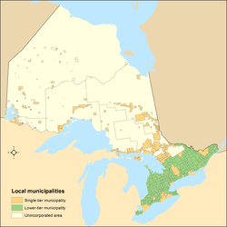 Distribution of Ontario's single-tier and lower-tier municipalities