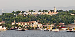 A close-up view of Topkapı Palace, with the Prince Islands in the background.