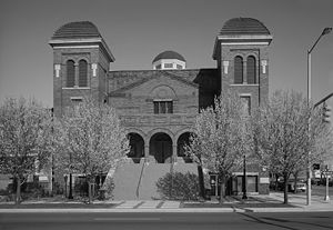 A black and white photograph of the Sixteenth Street Baptist Church in Birmingham, Alabama