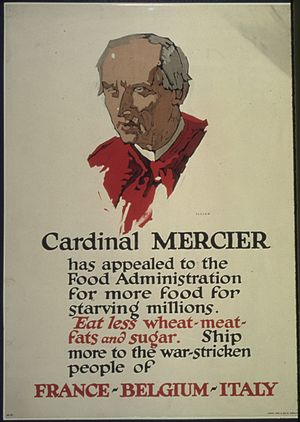 """Cardinal Mercier has appealed to the Food Administration for more food for starving millions. Eat less wheat- meat... - NARA - 512580.jpg"