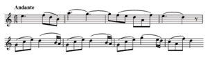 Two staves of printed music notation