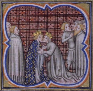 A miniature of Edward giving homage to Philip IV
