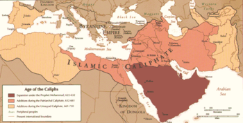 A map of the Middle East and parts of Africa, Europe, and Asia showing the expansion of the Islamic Caliphate by 750. The expansion by Muhammad from 622 to 632 is mainly confined to the Persian Gulf. The Patriarchal Caliphate, lasting from 632 to 661, expands to most of the Middle East, spreading only to northern Egypt. The Umayyad Caliphate, from 661 to 750, extends the Islamic Caliphate to most of North Africa and Iberian Peninsula and farther east from modern-day Iran.