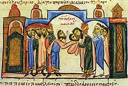 Beneath a domed superstructure, a delegation of bearded men stands left, in the center, a man surrenders a cloth with the face of Christ to another man, who kisses it, while churchmen stand to the right.