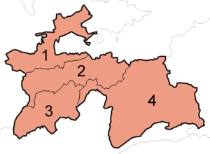 A clickable map of Tajikistan exhibiting its four provinces.