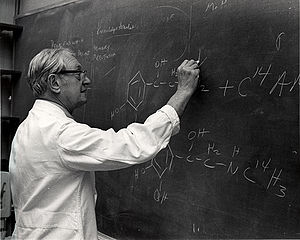 Julius Axelrod working at the blackboard on the structure of catecholamines