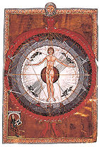 """Universal Man"", an illumination from a 13th-century copy of Hildegard von Bingen's Liber Divinorum Operum (""Book of Divine Works"", c. 1165)."