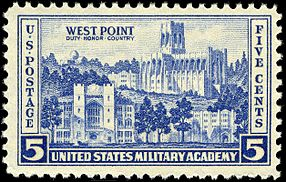 Image of a U.S. commemorative stamp featuring buildings at West Point