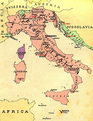 color map of Italy in red claimed by Fascists in the 1930s