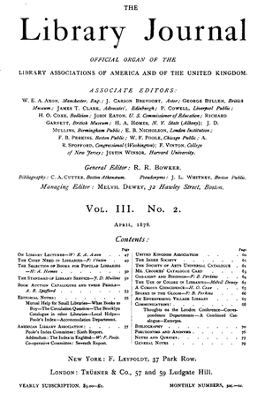 The first page of Library Journal for Volume 3, No. 2, 1878.