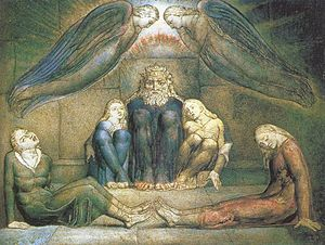 Painting of a bearded man and four children huddled on a stone floor with two large angels overhead.