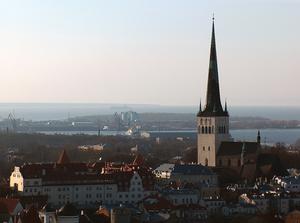 St. Olaf's church, Tallinn spire look over city and river
