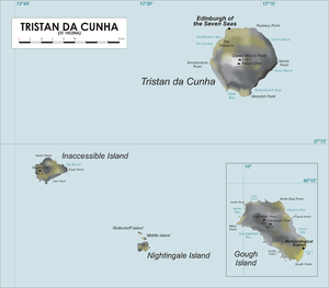 The island of Tristan de Cunha is indicated in the top right section of the map. The smaller Inaccessible Island is shown centre left, and the tiny Nightingale Island is at the bottom centre. An inset in the lower right quarter shows Gough Island.