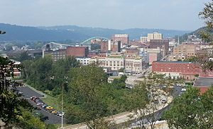 Downtown Wheeling as viewed from above 22nd Street in 2012.
