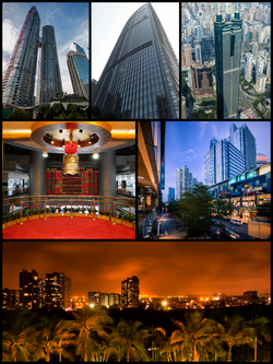 Clockwise from top left: East Pacific Center, KK100, Shun Hing Square, Coastal City, Shenzhen Bay at night, and Shenzhen Stock Exchange