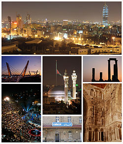 Amman city landmarks, from right to left and above to below: the Abdali Project dominating Amman's skyline as seen from Sport city, Temple of Hercules at Amman Citadel, King Abdullah I Mosque and Raghadan Flagpole, Abdoun Bridge, Umayyad Palace, Ottoman Hejaz Railway station and Roman Theatre.