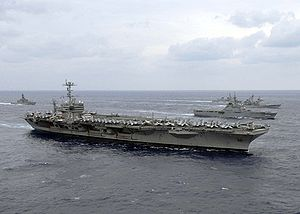 USS George Washington participating in a photo exercise with other U.S. Navy and Japan Maritime Self-Defense Force ships at the culmination of ANNUALEX 2008.