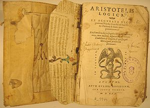 "Front cover of book, titled ""Aristotelis Logica"", with an illustration of eagle on a snake"