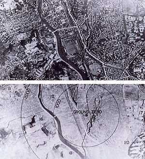 The before image looks like a city. In the after image, everything has been obliterated and it is recognisable as the same area only by the rivers running through it, which form an island in the centre of the photographs.