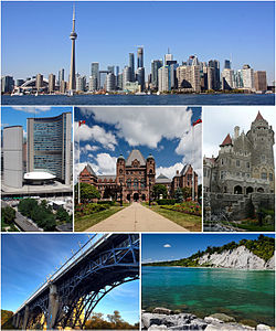 From top left: Downtown Toronto featuring the CN Tower and Financial District from the Toronto Harbour, City Hall, the Ontario Legislative Building, Casa Loma, Prince Edward Viaduct, and the Scarborough Bluffs