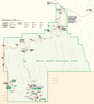 A color map of Mesa Verde park map by the National Park Service
