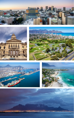 Clockwise from top: Cape Town CBD, Strand, Clifton beach, Table Mountain, Port of Cape Town, Cape Town City Hall