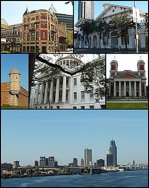 From top: Pincus Building, Old City Hall and Southern Market, Fort Condé, Barton Academy, Cathedral Basilica of the Immaculate Conception, and the skyline of downtown Mobile from the Mobile River.