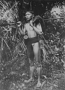Portrait of a Dayak hunter in Borneo with a boar over his shoulder