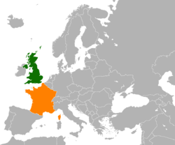 Map indicating locations of United Kingdom and France