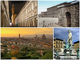 A collage of Florence showing the Galleria degli Uffizi (top left), followed by the Palazzo Pitti, a sunset view of the city and the Fountain of Neptune in the Piazza della Signoria