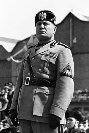 A portrait of Mussolini