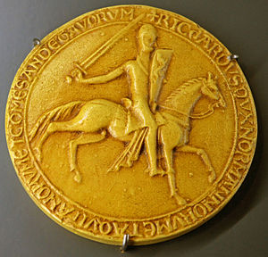 Photograph of the 1195 seal of Richard I of England. Exhibited in History Museum of Vendee