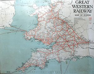 "A map showing Wales and south west England. The words Great Restern Railway"" are at top left, the sea is pale blue and railway lines red, many of which seem to radiate from London on the right"