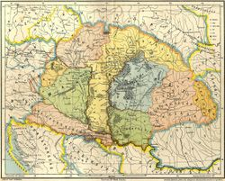 Multicolored map of Central Europe before the arrival of the Hungarians