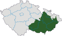 Moravia (green and dark grey) in relation to the current regions of the Czech Republic