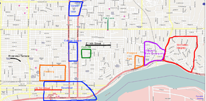 A map of a city with several areas highlighted to illustrate historic neighborhoods