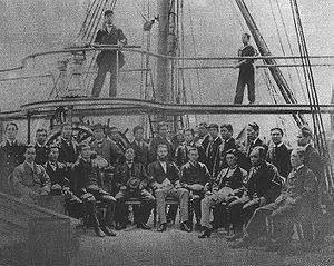 Group of men on the deck of a ship.