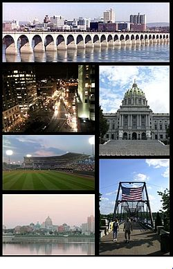 From top to bottom, left to right: Harrisburg skyline; Market Square in Downtown Harrisburg; Pennsylvania State Capitol; Metro Bank Park; Walnut Street Bridge; Susquehanna River