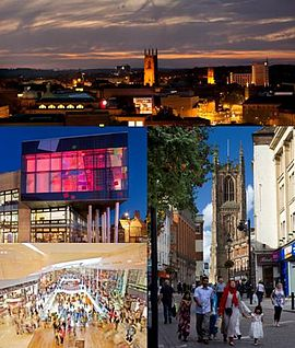 Derby Skyline and landmarks, clockwise from top left: Derby Quad, Derby Cathedral, Intu Derby.