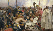 """Zaporozhian Cossacks write to the Sultan of Turkey"" by Ilya Repin (1844–1930)"