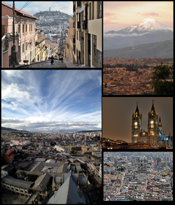 Top left:Garcia Moreno Street and Panecillo Hills, Top right: View of Cayanbe Volcano and surrounding Quito,from Cotocollao area, Bottom left:Panorama view of Quito, from La Magdelena area, Bottom upper left:A night view of The Basilica of National Vow Church, Bottom lower right:View of Quito Carthedral and El Tejar ancient area