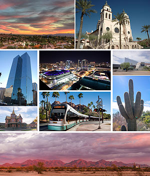 Images, from top, left to right: Papago Park at sunset, Saint Mary's Basilica, Downtown Phoenix, Phoenix skyline at night, Arizona Science Center, Rosson House, the light rail, a saguaro cactus, and the McDowell Mountains